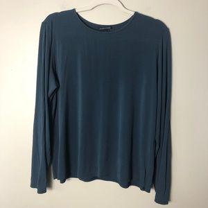 Eileen Fisher Blue Crew Neck Silk Blouse Size XL